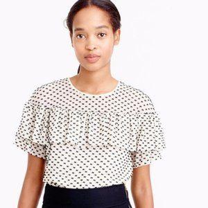 J Crew Edie swiss dot ruffle polka dot blouse #126